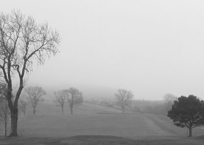 Misty Winter Morning Looking up the 1st Hole